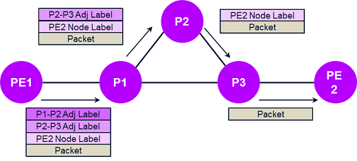 With segment routing, the route can be pre-planned via SDN and programmed into the packet at the source
